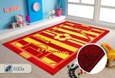 Vloerkleed Kinderkamer - Voetbal - Rood en Geel