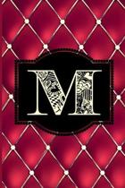 M: Monogram Journal or Diary. Captivating Ruby Red and Gold Diamond Design with a Decorative Uppercase Initial with Textu