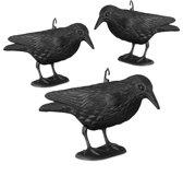 relaxdays 3 x duivenverschrikker kraai staand - 38 cm vogelverschrikker zwart - tuinfiguur