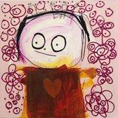 Poul Pava - Doek Red Heart - 120x120 cm
