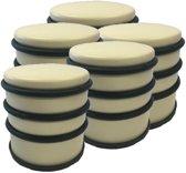 5x Gele ronde deurstoppers met rubberen bescherming - 7 x 7.5 cm - 1 kg - gele deurstop