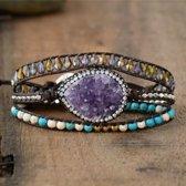 Bohemian Armband | Amethist Edelsteen Paars | Wikkel Armband