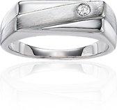 Classics&More - Zilveren Ring - Maat 66 - Rechthoek Met Zirkonia