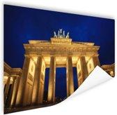 Nachtelijke Brandenburger Tor in Berlijn Poster 60x40 cm - Foto print op Poster (wanddecoratie woonkamer / slaapkamer) / Steden Poster