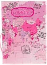 Paspoort hoesje / houder / etui, roze, wereldkaart dessin