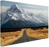 Weg naar Mount Cook Nieuw Zeeland Canvas 30x20 cm - klein - Foto print op Canvas schilderij (Wanddecoratie woonkamer / slaapkamer) / Zee en Strand