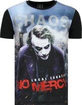 The Joker Heren T shirt - Chaos No Mercy - Zwart - Maten: