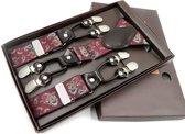 Heren bretels bordeaux rood paisley, maat 120 CM