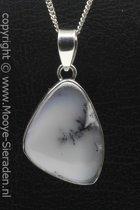 Zilveren Boomagaat edelsteen ketting hanger