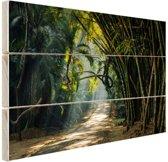 Rijen bamboe in Azie Hout 160x120 cm - Foto print op Hout (Wanddecoratie) XXL / Groot formaat!