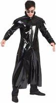 Zwarte gothic lak verkleed jas voor heren 48-50 (S/M)