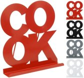 "Kookboek standaard, wit metaal ""COOK"" 22 x 20 cm"