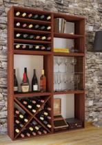 Wijnkast wijnrek Weino 6 vakken noten