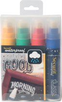 2x Securit Waterproof krijtmarker large, etui met 4 stuks in geassorteerde kleuren