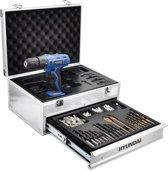 Hyundai accuboormachine / boormachine 18V - inclusief 2 accu's - in aluminium koffer met 275 accessoires.