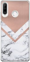 Huawei P30 Lite siliconen hoesje - Rose gold marble