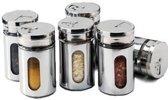 RVS Kruidenstrooier Set met Draaidop - 6 Stuks | Zout | Suiker | Kruiden | Specerijen | Peper | Kruidenpot | Kruidenpotje | Kruidenstrooiers