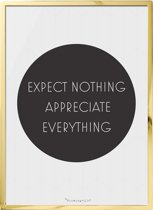Bloomingville - Tekstbord - 'Expect Nothing ...' - W40xH55 cm - Goud Finish