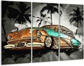 Schilderij   Canvas Schilderij Oldtimer, Auto   Zwart, Wit, Oranje   120x80cm 3Luik   Foto print op Canvas