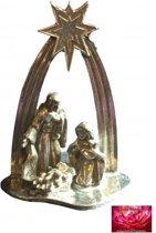 Kerststal - Tin -  Jozef Maria Kindje Jezus Kribbe Gepatineerd Glanzend Tin