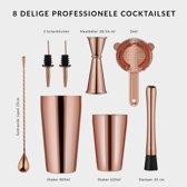 YONO Premium Cocktail Shaker Rose Gold – Professionele Cocktailshaker 600ml met Maatbeker Jigger Zeef Schenktuiten Stirrer en Stamper - Roze Goud