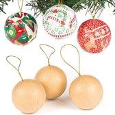 Zelf kerstballen maken - maak ontwerp je eigen hangdecoratie - creatieve knutselpakket voor kinderen voor Kerstmis (6 stuks)