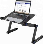 Universele Verstelbare Laptoptafel – Laptop Standaard Verhoger – Notebook standaard - Geschikt voor Bureau/Bed/Schoot – Max 16 inch - Zwart
