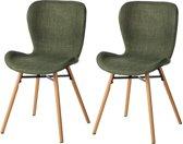Gestoffeerde stoelen Livaras stoel (2-delige set) - Olijfgroen Design Eetkamerstoel