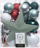 Groen/zilver/wit kerstballen pakket met piek 33 stuks