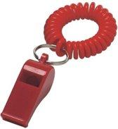 4x Rood fluitje aan polsbandje - Supporters/sportdag artikelen