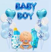 Babyshower Versiering Pakket - 19 stuks - Luxe Baby Shower Folie Balonnen Set - Baby Boy Helium Ballon - Geboorte Feest Cadeau Jongen
