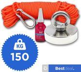 Medium Vismagneet Set - 150 KG Trekkracht - Magneetvissen Met Vismagneten - 10 Meter touw - Neodymium Vismagneet - Karabijnhaak - Gratis Schroefborgmiddel 10ml