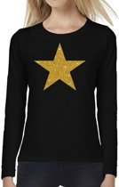 Ster van goud glitter t-shirt long sleeve zwart voor dames- zwart shirt met lange mouwen en gouden ster voor dames 2XL