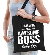 Kadotas This is what an awesome boss looks like zwart katoen - cadeau voor werkgevers