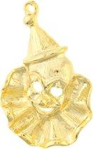 Behave® Broche clown gezicht goud kleur 5 cm