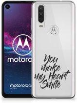 Motorola One Action Siliconen hoesje met naam Heart Smile