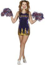 Paillettenjurk cheerleader paars/goud voor dame maat 42