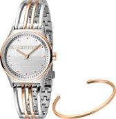 Esprit ES1L031M0075 Unity horloge - Staal - Zilver- en rosékleurig - Ø 30 mm