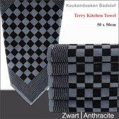 Homéé® Keukendoek antraciet / zwart geblokt - 50x50cm - set van 6 stuks - 100% katoenen badstof