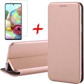 Samsung Galaxy A71 Hoesje - Book Case Wallet + Screenprotector - Roségoud