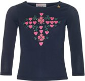 Mim-pi Meisjes T-shirt - Blauw met roze - Maat 116