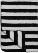 Meyco Black Label Organic Stripe Ledikantdeken - 120x150 cm - Zwart/Wit