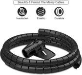 Samzhe - Zwarte kabel geleider - goot - spiraal - 1.5 meter 20mm doorsnede