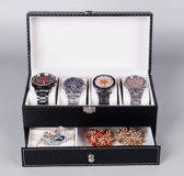 Heren en Dames Horloge en Sieraden Opbergbox met plaats voor 4 horloges en opberg bakje voor Ring, Armband, Ketting, Broches etc.