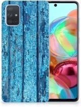 Samsung Galaxy A71 Bumper Hoesje Blauw Wood