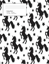 Unicorn White Pattern Composition College Ruled Book (7.44 X 9.69) 200 Pages V6