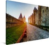 Kathedraal Saint Michel in het Franse Carcassonne Canvas 180x120 cm - Foto print op Canvas schilderij (Wanddecoratie woonkamer / slaapkamer) XXL / Groot formaat!