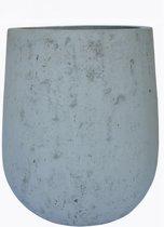 Witte Light cement Bloembak met structuur  h. 65 cm en doorsnee 52 cm