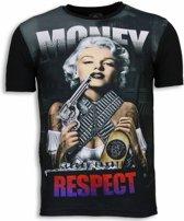 Local Fanatic Marilyn Money - Digital Rhinestone T-shirt - Zwart - Maten: L