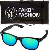Fako Fashion® - Zonnebril - Wayfarer - Mat Zwart - Spiegel Blauw/Groen
